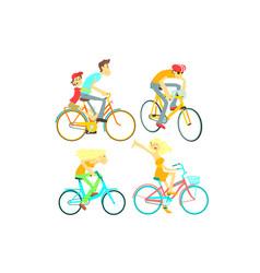 people on bikes set vector image vector image
