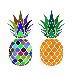 pineapple color icons vector image vector image