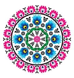 Polish traditional folk pattern in cirle vector