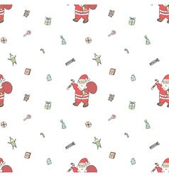 Seamless pattern of Santa Claus with gifts vector image