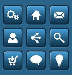 Set of blue web square buttons vector