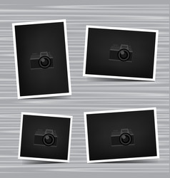 Set photos on wooden background vector