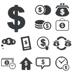 Simple dollar icon set vector