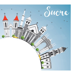 sucre skyline with gray buildings blue sky and vector image vector image