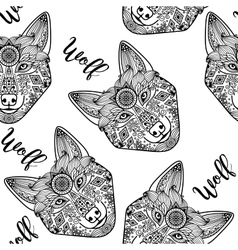Wolf face seamless pattern vector