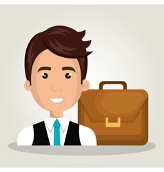 Businessman portfolio suitcase work design vector