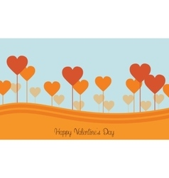 Valentine day with love on hill landscapes vector