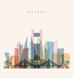 Manama skyline detailed silhouette vector
