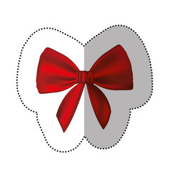 sticker realistic cute red ribbon with bow vector image