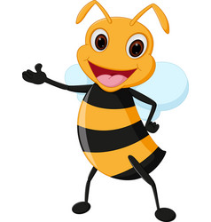 happy bee cartoon vector image