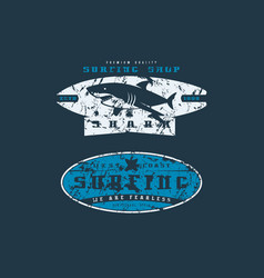 surfing shop emblems graphic design for t-shirt vector image