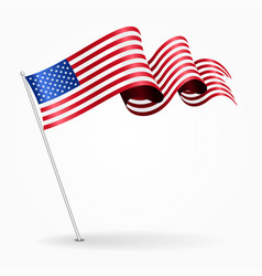 American pin wavy flag vector