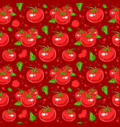 Juicy tomatoes seamless pattern vector