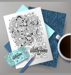 Cartoon doodles bathroom corporate identity vector