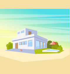 Flat style modern architecture house with pool and vector