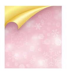 Pink paper with snowflake texture and curled vector
