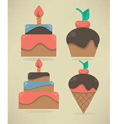 cakes and sweets vector image