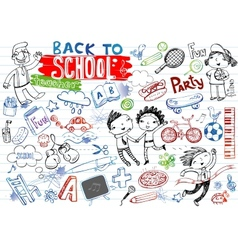 School doodles set vector