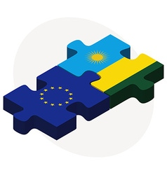 European union and rwanda flags vector