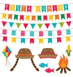 Festa junina decoration and photo booth props set vector
