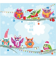 Merry christmas card with owls vector