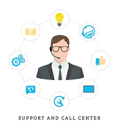 Icons for call center or hotline call center male vector