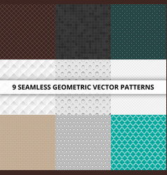 9 seamless geometric patterns abstract vector image vector image