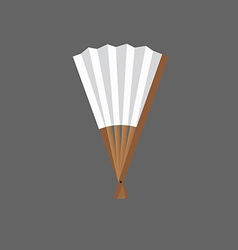Half-opened fan white and wooden in vector