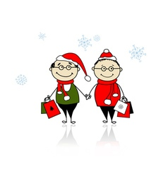 Christmas gifts family with shopping bags vector