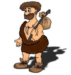 Ancient man happy humour hunter vector
