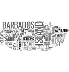 barbados holidays text word cloud concept vector image vector image