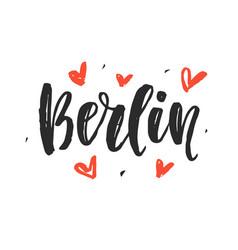 Berlin modern city hand written brush lettering vector