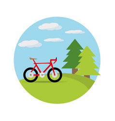 Bicycle in a beautiful landscape vector