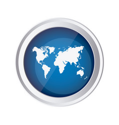 Blue emblem earth planet map icon vector