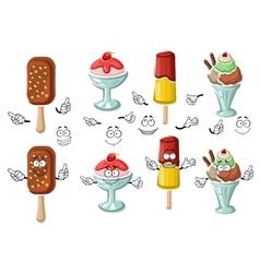 Cartoon tasty colorful ice cream characters vector