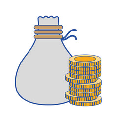 coins cash money with bag vector image vector image