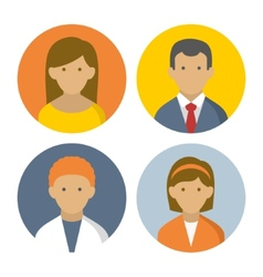 Colorful Peoples Userpics Icons Set in Flat Style vector image vector image