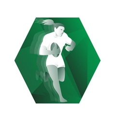 female rugby player running with ball retro vector image vector image
