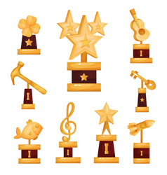 gold awards statues set collection of golden vector image