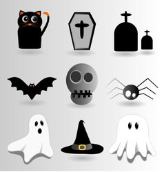 Halloween gray set vector image vector image