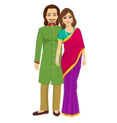 Indian young couple in traditional clothing vector