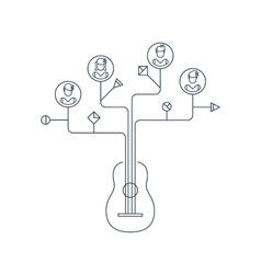 Learn to play the guitar education concept icons vector