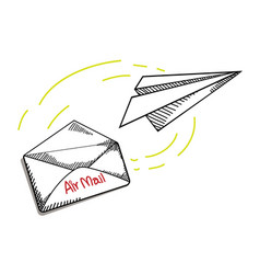 Letter and paper airplane in doodle style vector