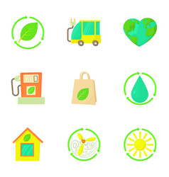 Natural environment icons set cartoon style vector