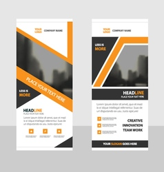 Orange roll up business brochure flyer banner vector image