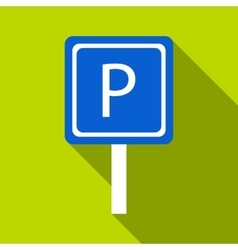 Parking sign icon flat style vector