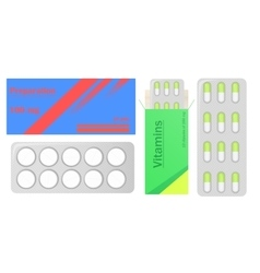 Pills in pack Tablets pills in box Medical drugs vector image vector image