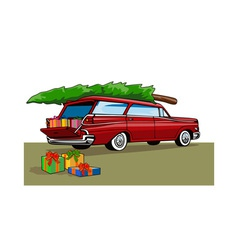 Red car station wagon christmas vector