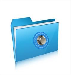 Security of computer folder with combination lock vector