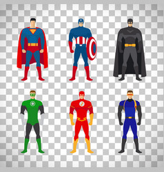 Superhero costumes set on transparent background vector